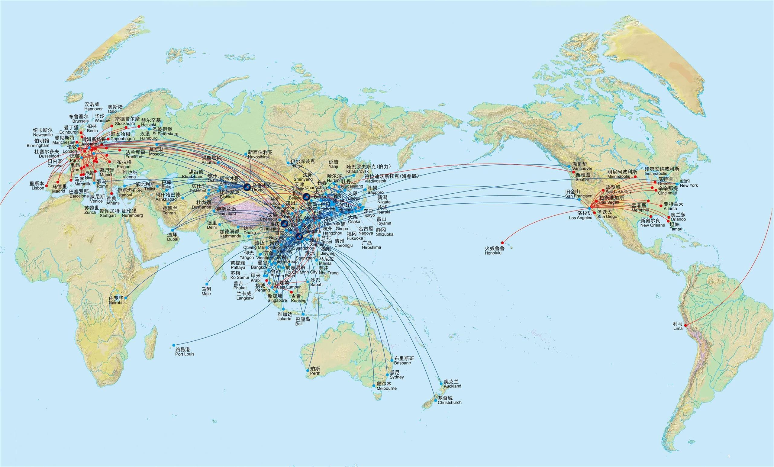 南航国际航线网络